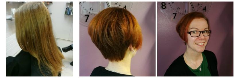 Hiustenleikkaus sekä värjäys