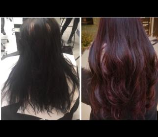 Viininpunainen hiustenvärjäys