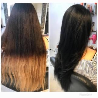 Pitkien hiustenvärjäys